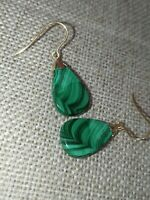 Pretty Natural green Malachite drop dangle solid 9ct gold French hook earrings