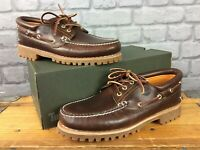 TIMBERLAND MENS UK 9.5 EU 44 BROWN CLASSIC 3 EYE LEATHER BOAT SHOES RRP £150 AD