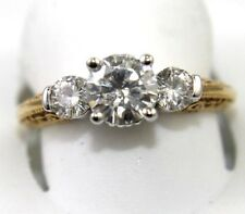3-Stone Round Cut Moissanite Solitaire Ring 14k Yellow Gold 1.50Ct