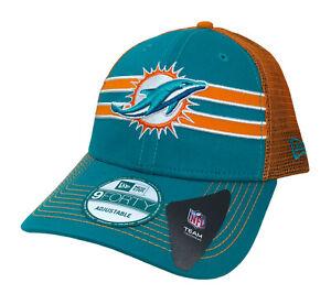 Miami Dolphins NFL New Era Mesh Trucker Snapback Cap (Teal/Orange) NWT