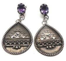 Navajo Handmade Sterling Silver Amethyst Post Earrings