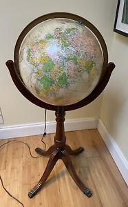 """Vintage Replogle Heirloom Globe 16"""" Did. With Light"""