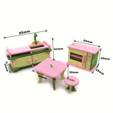 Doll House Wooden Furniture Kitchen Dining Table Miniature Kids Toy Kit Gifts