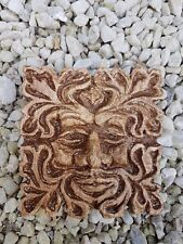 Metaphysical Wiccan Pagan celtic green man square plaster wall plaque handmade
