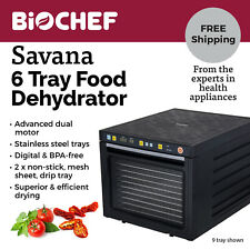 NEW BioChef Food Dehydrator - 6 S/Steel trays with timer & drying modes - Black