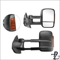 Towing Tow Mirror Set Pair For 08-14 Silverado Sierra Power Heated Amber Lamp
