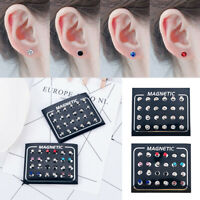 12 Pairs Mens Stainless Magnetic Crystal Clip On Ear Stud Earrings (No Piercing)