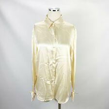 Ralph Lauren 12 Ivory 100% Silk Blouse Pearl Button Career