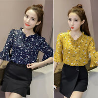 Women's Casual Flare Sleeve Floral Print Chiffon Blouse T-Shirt Ladies Tops New