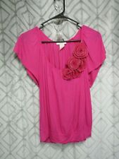 Poetry Clothing Top Size S Pink Pull Over Short Sleeve Fanned Flowers Casual