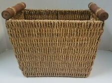 World Market Woven Seagrass Basket with Wooden Handles- NWT