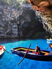 BOAT ROW OARS MELISSANI CAVE GREECE PHOTO ART PRINT POSTER PICTURE BMP2233B