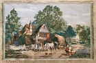 ANTIQUE TAPESTRY Country Cottage FARM Village COVERED WAGON Mountains LARGE