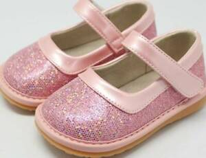 Sparkle Pink Leather Squeaky Shoes  Toddler size 3-10 (run close to true size)