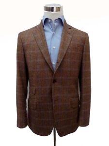 NWT Hackett Sport Coat 42R Brown w/blue windowpane 3-button Loro Piana wool