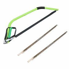 """24"""" Heavy Duty Bow Saw Wood Logs Trees Branches Finger Guard + 3 Blades"""