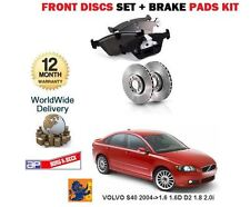 FOR VOLVO S40 1.6 1.6D D2 1.8 2.0 T5 2004-> NEW FRONT BRAKE DISCS + PADS SET KIT
