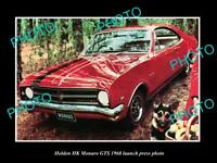 OLD LARGE HISTORIC PHOTO OF GMH 1968 HK HOLDEN MONARO GTS LAUNCH PRESS PHOTO