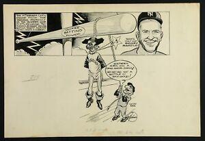 1960 Vic Johnson Mickey Mantle vs Pirates Original Newspaper Artwork