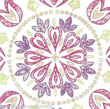 Floral Medallion QUEEN COMFORTER SET 6pc NWT Moroccan Pink Purple White COTTON