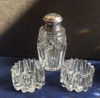 Cut Crystal Glass SALTs & Silver Lidded PEPPER POT. CHESTER 1912 J&K Griffin.