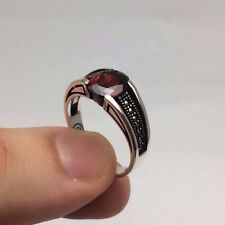 Turkish Jewelry Red Zircon Marcasite Cool 925K Sterling Silver Men's Ring