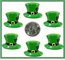 6 PC ST PADDY'S DAY LEPRECHAUN HATS RESIN FLATBACK FLAT BACK RESINS PATTY'S DAY