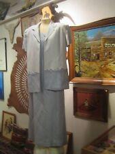 Jessica Howard blue linen cocktail short sleeve jacket full length sheath 14P