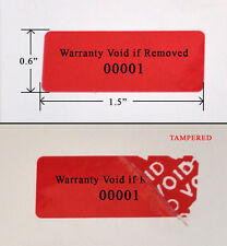 "1,000 SECURITY LABEL SEAL STICKER RED TAMPER EVIDENT VOID PS3 1.5""X 0.6"" PRINTED"