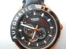 New Fossil Automatic men's black leather Analog,water resist dress watch.ME-3091