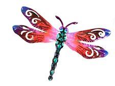 "Home Garden Decor - Dragonfly Wall Art 711725 Metal 6.5"" X 6.5"" Pink Multi New"