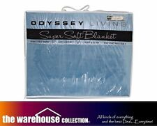 ODYSSEY QUEEN KING BLUE SUPER SOFT LOUNGE SOFA MINK THROW RUG BLANKET 240x260
