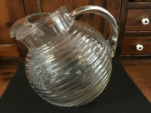 """VINTAGE Clear glass Tilt Ball Pitcher with Ice Lip Rings Excellent Cond. 7"""" Tall"""