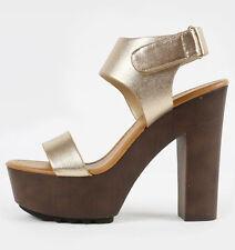 Womens Open Toe Ankle Strap Buckle Cuff Faux Wooden Platform Chunky Heel Sandals