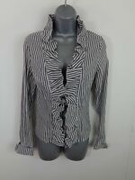 WOMENS UNIQUE BLACK/WHITE STRIPED RUFFLED ZIP UP SMART LONG SLEEVED SHIRT SIZE 3