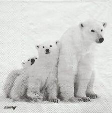 2 Serviettes en papier Ours Polaire - Paper Napkins Polar Bear Haris