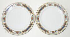 """2 Bradleys China tea plates Art Deco c1920s cobalt blue floral rim 7"""" 17.8cm"""