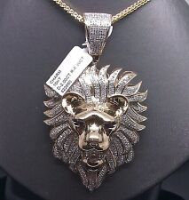10K Yellow Gold Lion Head Charm With 2.00CT Diamond Round Ruby Eyes,Angel,Jesus