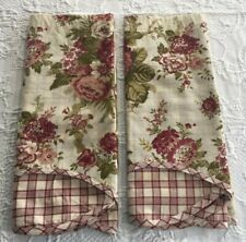 TWO WAVERLY NORFOLK TEA STAINED DOUBLE SCALLOPED VALANCES ROSES, FLORAL & PLAID