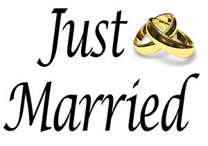 JUST MARRIED iron on t-shirt transfer a5 a4