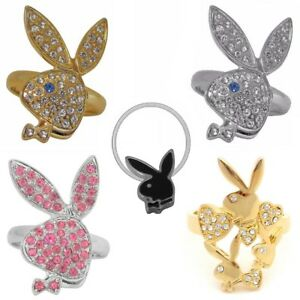 Playboy Ring Gold Band Silver Pink Swarovski Crystal Women Bunny Logo Adjustable