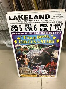 """VINTAGE COLE BROS.CIRCUS POSTER 14""""X 22"""" ANIMAL AND GROUND AND AERIAL/LAKELAND"""
