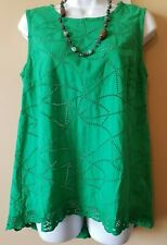 CABi Size XS Green Eyelet Cotton Top  #5036