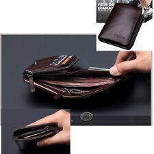 Men's Leather Trifold Wallet Card Holder Purse Zip Coin Pocket Clutch Billfold