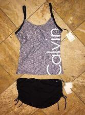 NWT $170 Calvin Klein Black Gray Logo Skirted Tankini Swimsuit 2pc Set Women's S