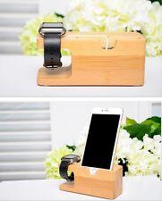 Socle de bureau en bambou titulaire chargeur station pour Apple iWatch & iPhone