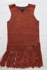 Lipsy Knit Vest Sleeveless Top Fringe Rust Size Medium