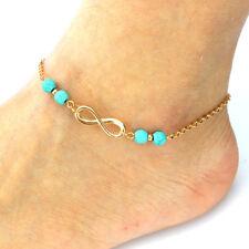 Gold Fashion Lucky 8 Pendant Ankle Bracelet Leg Bracelet Anklets for Women Gift