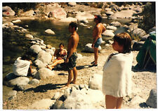 Vintage 80s PHOTO People Guys Girls On River Beach
