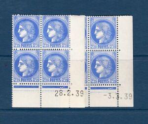 Bloc de 4 timbres neufs avec coin daté Type Cérès - n°374